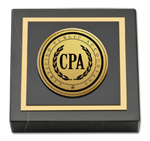 Certified Public Accountant Paperweight - Gold Engraved Medallion Paperweight
