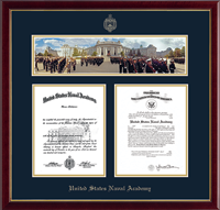 United States Naval Academy Diploma Frame - Campus Scene Double Diploma Frame in Galleria
