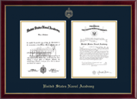 United States Naval Academy Diploma Frame - Gold Embossed Double Diploma Frame in Galleria