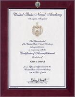 United States Naval Academy Certificate Frame - Century Masterpiece Acceptance Certificate Frame in Cordova