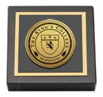The King's College in New York City Paperweight - Gold Engraved Medallion Paperweight