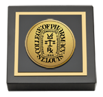Saint Louis College of Pharmacy Paperweight - Gold Engraved Medallion Paperweight