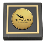 Towson University Paperweight - Gold Engraved Medallion Paperweight