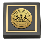 Pennsylvania State University Paperweight - Gold Engraved Medallion Paperweight