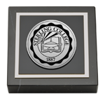 Sterling College Paperweight - Silver Engraved Medallion Paperweight