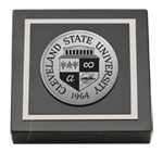 Cleveland State University Paperweight - Silver Engraved Medallion Paperweight