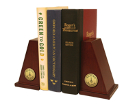 Delta Mu Delta Bookends - Gold Engraved Medallion Bookends