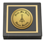 Delta Mu Delta Paperweight - Gold Engraved Medallion Paperweight