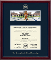 Pennsylvania State University Diploma Frame - Campus Scene Diploma Frame - Mascot/Cheerleaders in Galleria