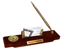 Chadron State College Desk Pen Set - Gold Engraved Medallion Desk Pen Set