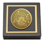 DePauw University Paperweight - Gold Engraved Medallion Paperweight