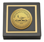 Messiah College Paperweight - Gold Engraved Medallion Paperweight