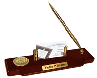 Shorter College Desk Pen Set - Gold Engraved Medallion Desk Pen Set