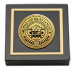 Middle Georgia College Paperweight - Gold Engraved Medallion Paperweight