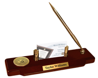 Wesleyan College Georgia Desk Pen Set - Gold Engraved Medallion Desk Pen Set