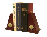 Wesleyan College Georgia Bookends - Gold Engraved Medallion Bookends
