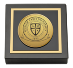 William Carey University Paperweight - Gold Engraved Medallion Paperweight