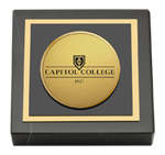 Capitol College Paperweight - Gold Engraved Medallion Paperweight