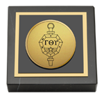 Gamma Theta Upsilon Paperweight - Gold Engraved Medallion Paperweight