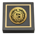 California State University Long Beach Paperweight - Gold Engraved Medallion Paperweight