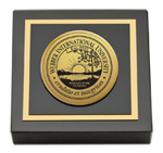 Webber International University Paperweight - Gold Engraved Medallion Paperweight
