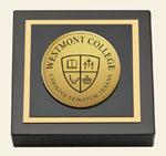 Westmont College Gold Engraved Paperweight - Gold Engraved Medallion Paperweight