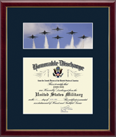 United States Air Force Certificate Frame - US Air Force Photo and Honorable Discharge Certificate Frame - Jets in Galleria