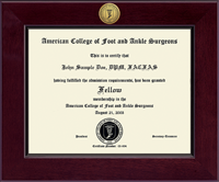 American College of Foot and Ankle Surgeons Diploma Frame - Century Gold Engraved Certificate Frame in Cordova