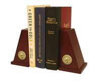 Brazosport College Bookends - Gold Engraved Medallion Bookends