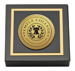 Temple College Paperweight - Gold Engraved Medallion Paperweight