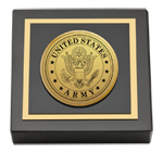 United States Army Paperweight - Gold Engraved Medallion Paperweight