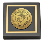 United States Marine Corps Paperweight - Gold Engraved Medallion Paperweight