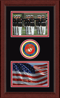 United States Marine Corps Photo Frame - Lasting Memories Double Circle Logo Photo Frame in Sierra
