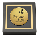 Portland State University Paperweight - Gold Engraved Paperweight