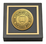 Colorado College Paperweight - Gold Engraved Medallion Paperweight