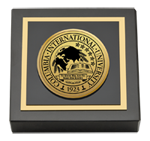 Columbia International University Paperweight - Gold Engraved Medallion Paperweight