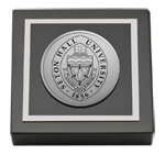 Seton Hall University Paperweight - Silver Engraved Medallion Paperweight