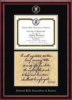 National Rifle Association of America Diploma Frame - Double Certificate Second Amendment Edition Frame in Galleria