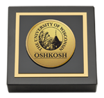 University of Wisconsin Oshkosh Paperweight - Gold Engraved Medallion Paperweight