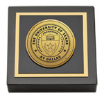 The University of Texas at Dallas Paperweight - Gold Engraved Medallion Paperweight
