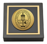 Mount Vernon Nazarene University Paperweight - Gold Engraved Medallion Paperweight