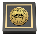 Fisk University Paperweight - Gold Engraved Medallion Paperweight
