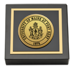 University of Maine Fort Kent Paperweight - Gold Engraved Medallion Paperweight