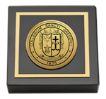 St. Gregory's University Paperweight - Gold Engraved Medallion Paperweight