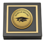 Mortar Board National College Senior Honor Society Paperweight - Gold Engraved Medallion Paperweight