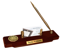 Iowa Wesleyan College Desk Pen Set - Gold Engraved Medallion Desk Pen Set