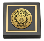 Marian University in Wisconsin Paperweight - Gold Engraved Medallion Paperweight