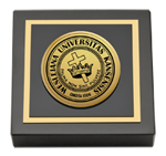 Kansas Wesleyan University Paperweight - Gold Engraved Medallion Paperweight