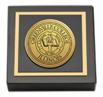 Greenville College Paperweight - Gold Engraved Medallion Paperweight