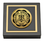Millikin University Paperweight - Gold Engraved Medallion Paperweight